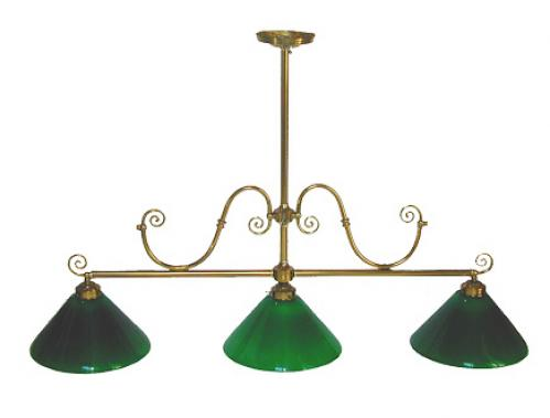 A Handsome Early 20th Century Brass Billiard Chandelier No. 2214