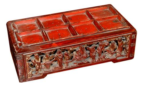 A 19th Century Miniature Oriental Carved Red Lacquer Stand No. 506