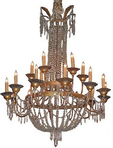 A Rare 18th Century Silver Gilt 18 Light Crystal Chandelier No. 2634