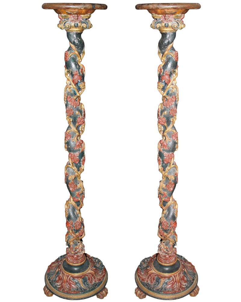 A Pair of 19th Century Italian Rococo Carved Wood Polychrome and Parcel-Gilt Pedestals No. 1810