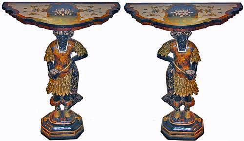 A Pair of Polychrome, Parcel-Gilt, and Pietra Dura Venetian Blackamoor Consoles No. 2849