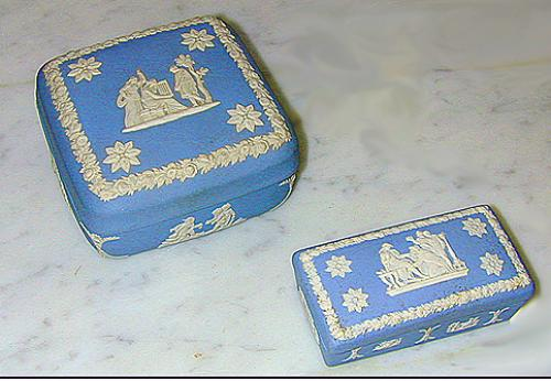 A Fine Set of 19th Century English Wedgwood Blue and White Porcelain Boxes No. 1195