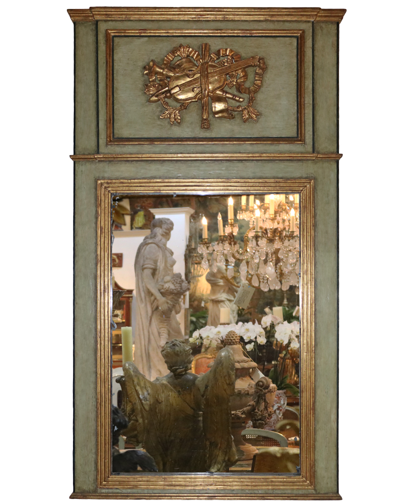 A French 18th Century Polychrome and Parcel-Gilt Trumeau Mirror No. 1856