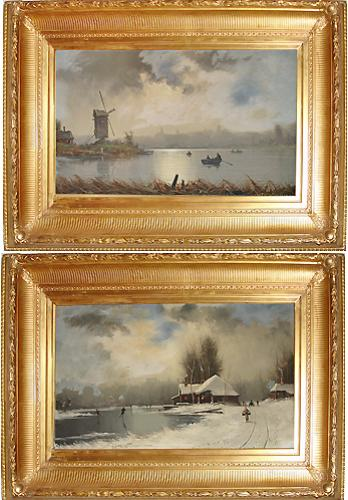 A Pair of 19th Century Dutch Oil on Canvas Winterscapes signed by Danish Artist Nils Hans Christiansen (1850-1922) No. 2909