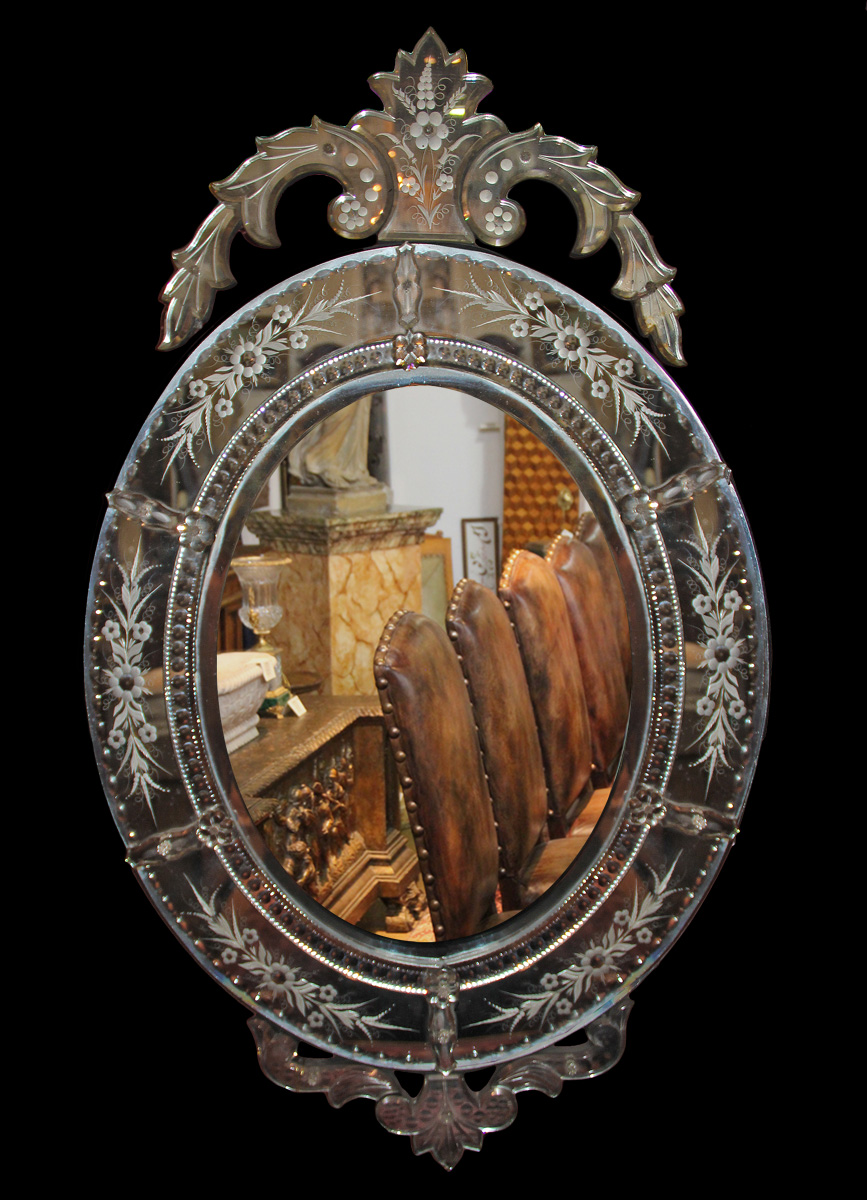 A 19th Century Oval Venetian Mirror No. 1867