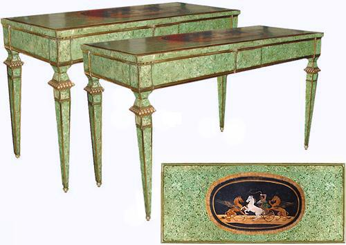 A Rare Pair of Early 19th Century Italian Scagliola Consoles No. 2665