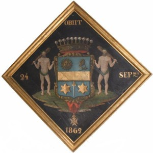 A 19th Century Armorial Crest Painting on Panel No. 2812