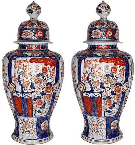 A Pair of 19th Century Imari Porcelain Covered Jars No. 2888