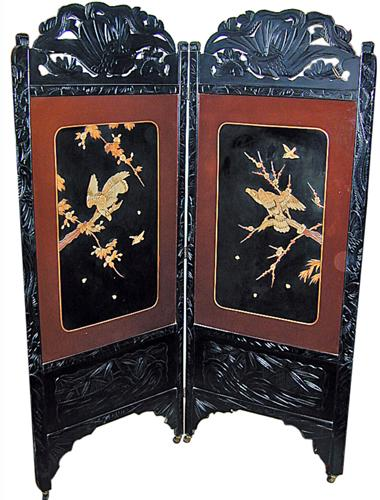 A 19th Century Chinese Two Panel Black Lacquer Screen with Bone and Jade Appliqués No. 673