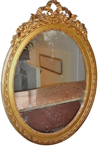 An Oval 19th Century French Gilt Mirror No. 3122