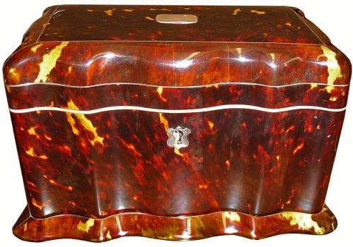 An English 19th Century Tortoiseshell Tea Caddy of Unusual Undulating Form No. 3128