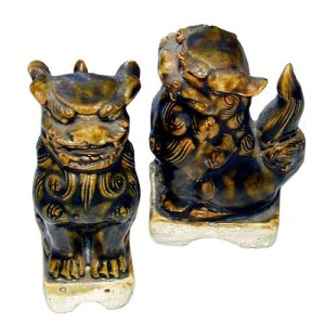 A Pair of Chinese Green Glazed Fu Dogs No. 1406
