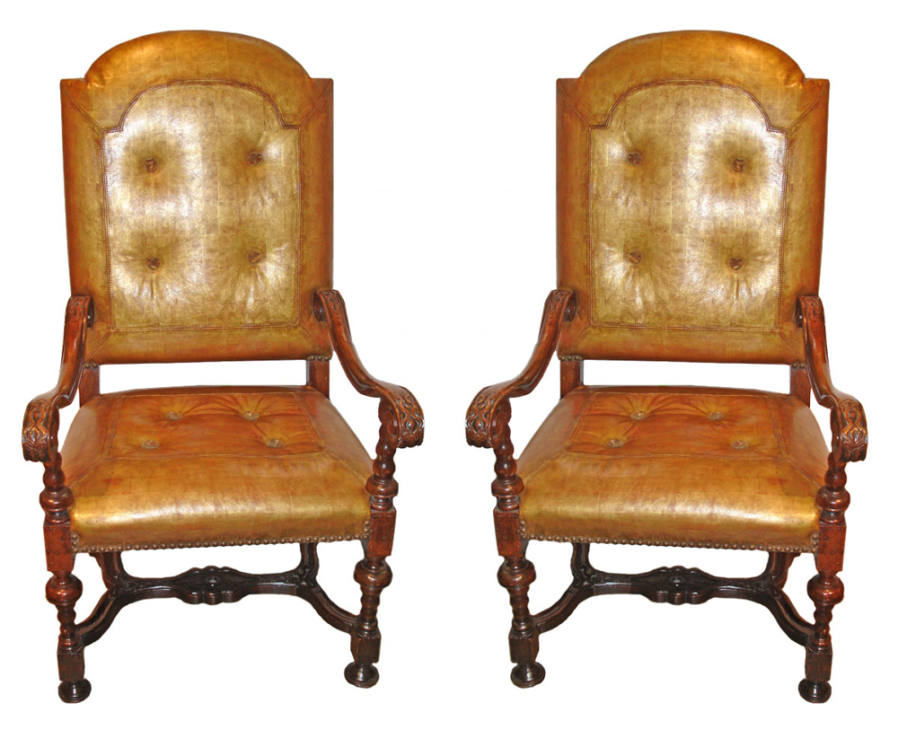A Very Rare Pair of Late 17th Century Italian Walnut Armchairs No. 2073