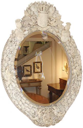 A Late 18th Century English Bone Carved Mirror No. 3136