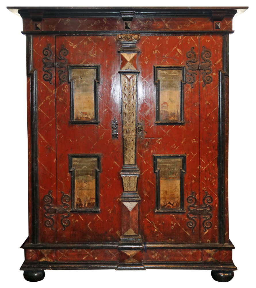A Handsome 18th Century Hand-Painted Armoire No. 2116