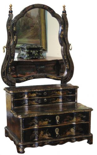 An 18th Century English Black and Gold Chinoiserie Adjustable Vanity Mirror No. 3165