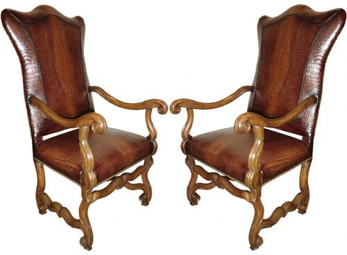 An 18th Century Harlequin Pair of Italian Walnut Fauteuils No. 3194