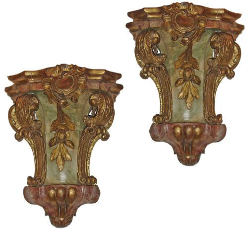 A Rare Pair of Original Polychrome and Parcel-Gilt 18th Century Venetian Wall Appliqués No. 3196