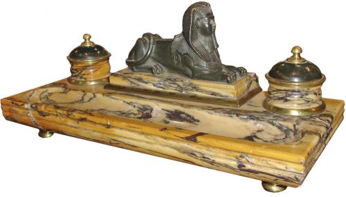 An Early 19th Century Italian Siena Marble Inkwell No. 3226