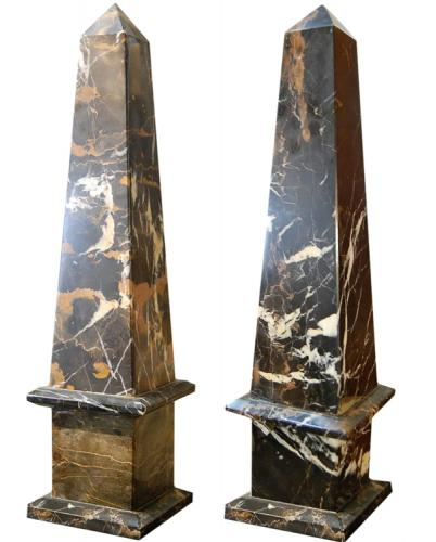 A Pair of Continental Marble Obelisks No. 786