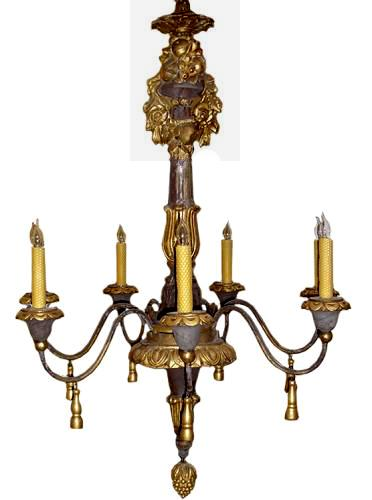 An 18th Century Italian Ebonized, Giltwood and Iron 6-Light Chandelier No. 3251