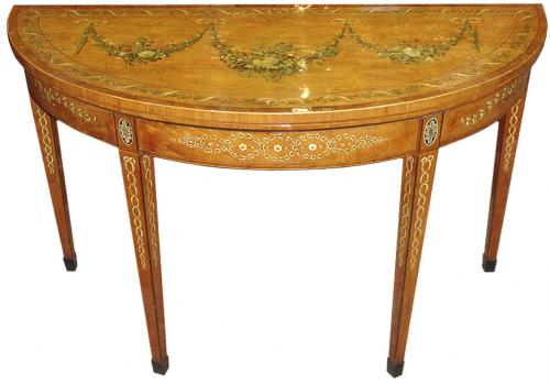 A Late 18th Century Folding Demilune Games Table in the Adams Taste No. 3267