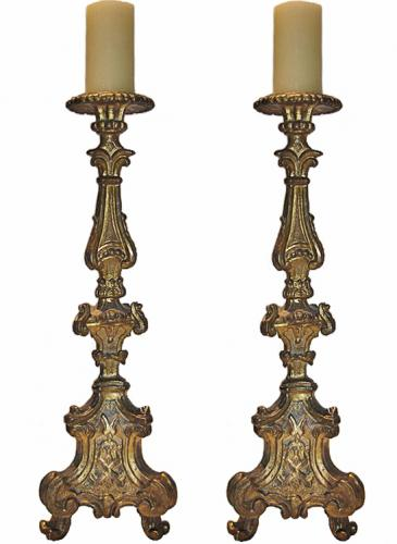 An Impressive Pair of 18th Century Carved Giltwood Rococo Pricket Candlesticks No. 3031