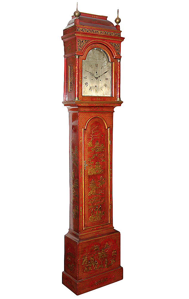 A George III Cinnabar Chinoiserie Tall Case Clock No. 2363
