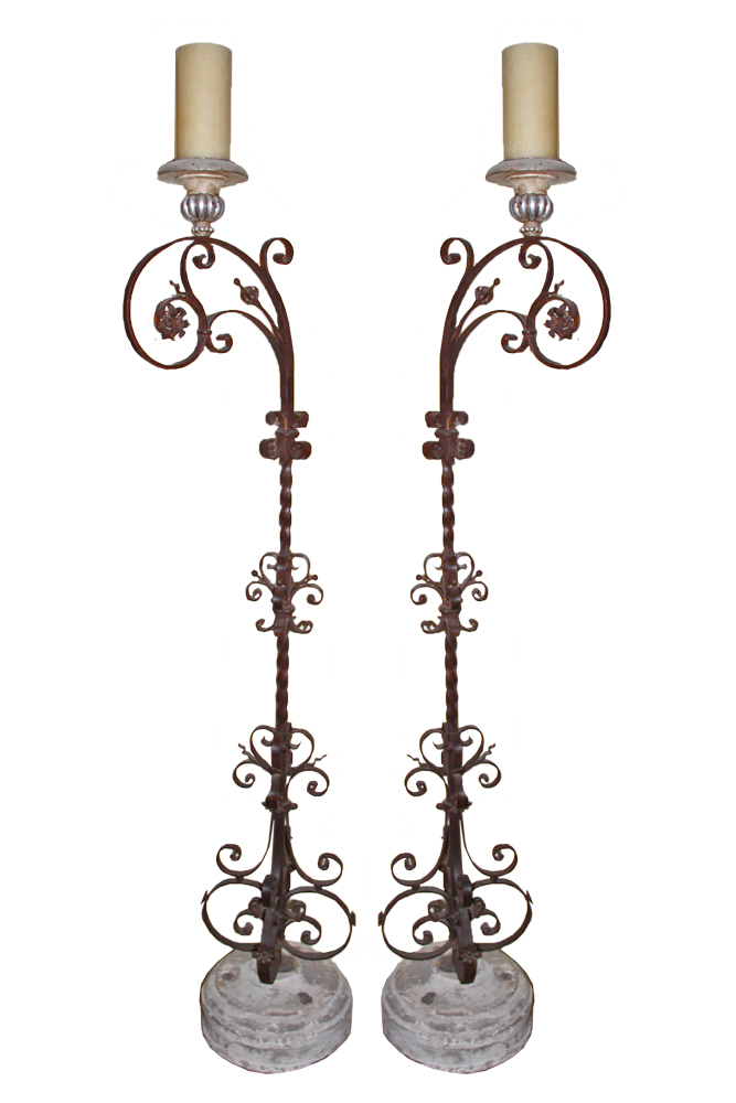 An Extraordinary Pair of 18th Century Hand-Forged Iron Torchères No. 2375