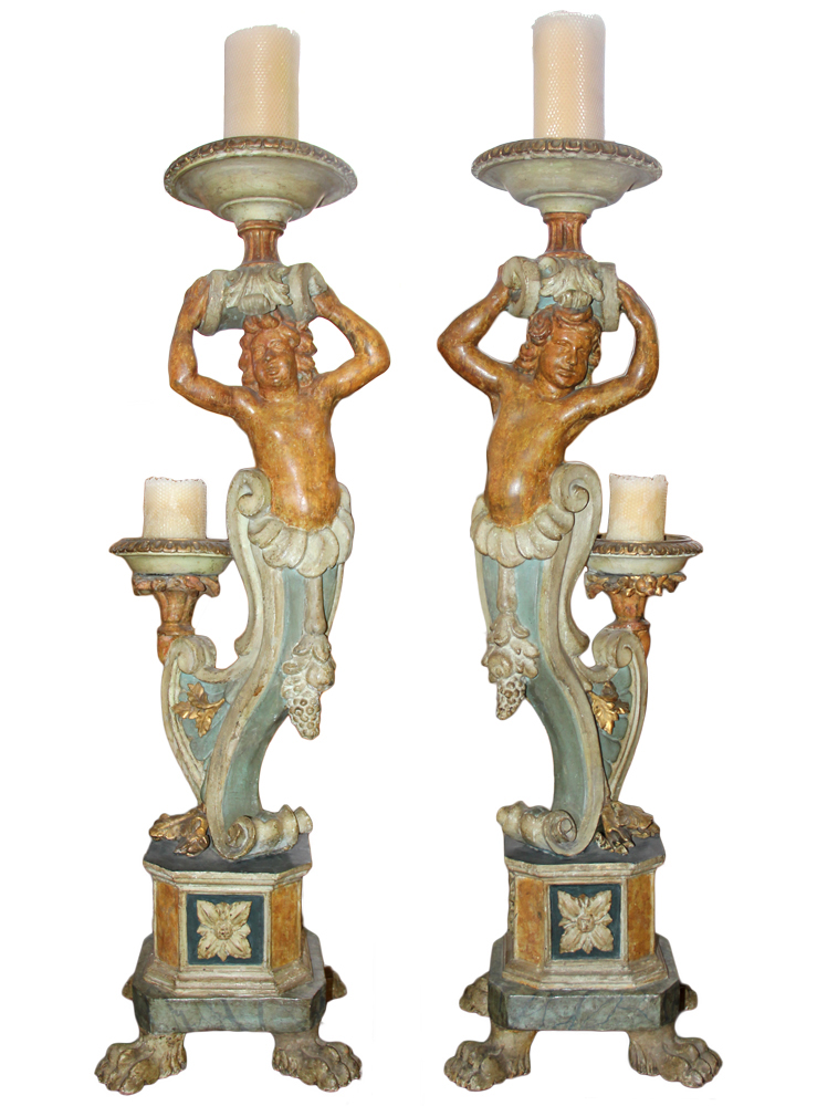 A Pair of 18th Century Polychrome and Parcel-Gilt Torchère Pedestals No. 2382