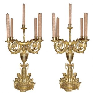 A Pair of Late 19th Century Gilt Brass Candelabra No. 3406