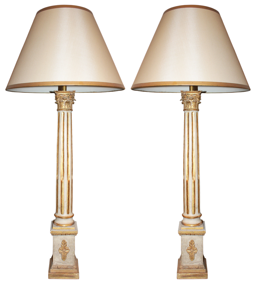 A Set of Two Grandly Scaled 18th Century Neoclassical Italian Corinthian Column Lamps No. 2438