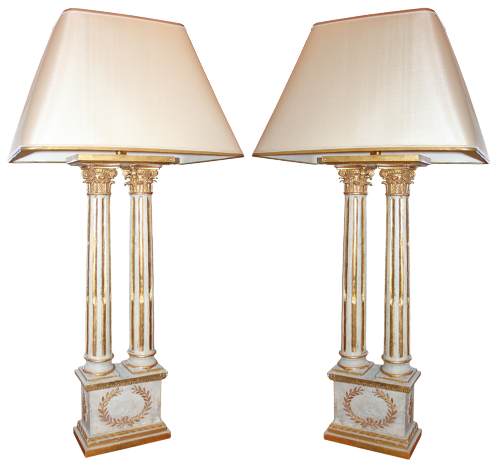 A Pair of Grandly Scaled 18th Century Twin Neoclassical Italian Corinthian Column Lamps No. 2439