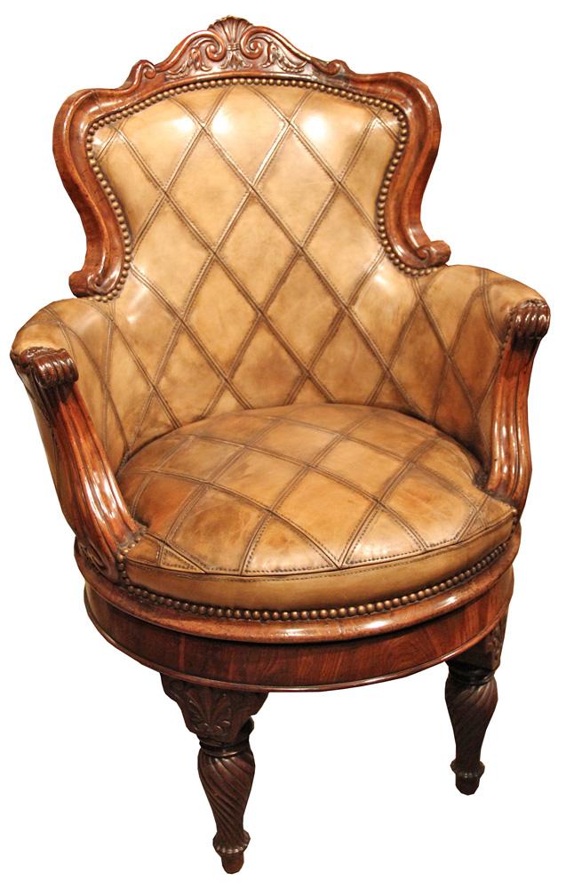 An Extremely Rare 19th Century Neapolitan Revolving Walnut Desk Chair No. 2440