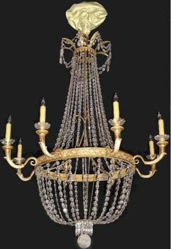 A Second Quarter 19th Century Italian Empire Crystal and Gilt Metal 8-Light Chandelier No. 3356