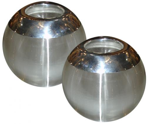 A Pair of Edwardian Silver and Ribbed Crystal Match Strike Globes No. 3447