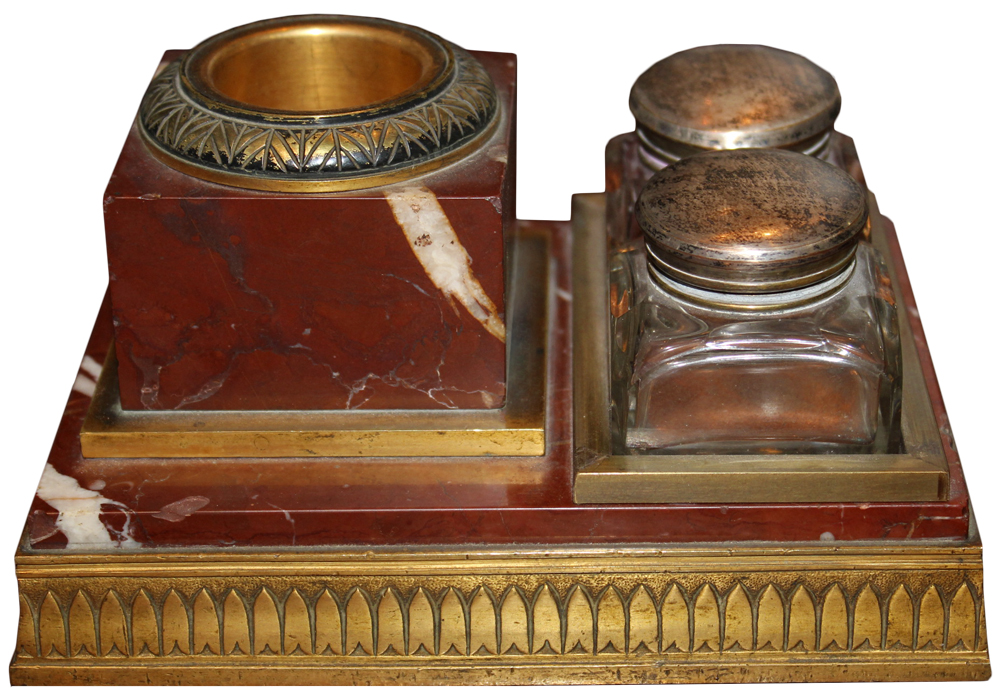 An Understated 19th Century Rosso Antico Inkwell No. 2495