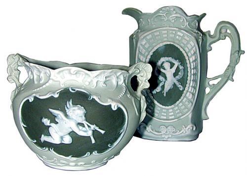 A Miniature Green & White Porcelain Bowl & Pitcher Set No. 1199