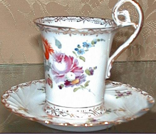A German Dresden Porcelain Cup & Saucer No. 872