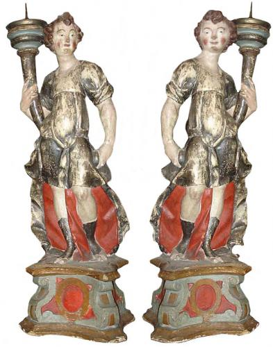 A Pair of 18th Century Polychrome and Parcel-Gilt Angelo Torchères No. 3496