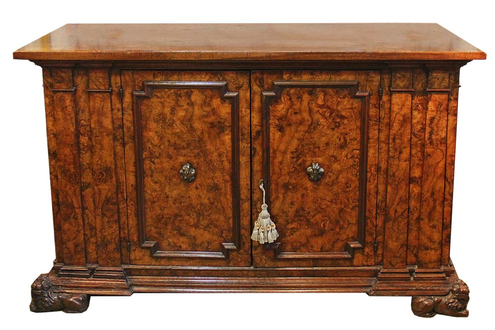 A Boldly Scaled 17th Century Italian Olivewood Palazzo Credenza No. 2517