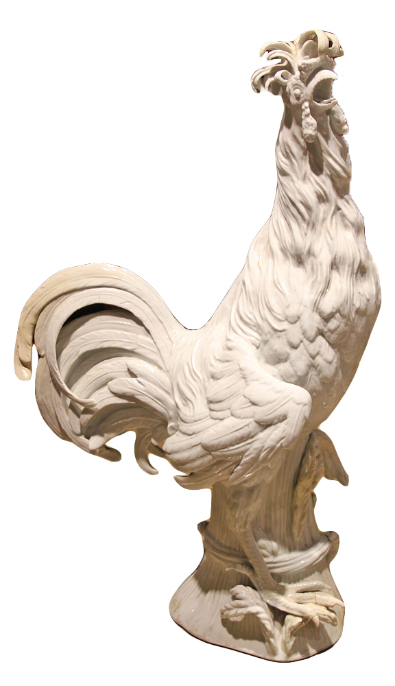 A Dramatic 19th Century Capo di Monte Porcelain Rooster No. 2539