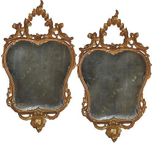 A Heart-Shaped Pair of 18th Century Italian Rococo Giltwood Mirrors No. 3516