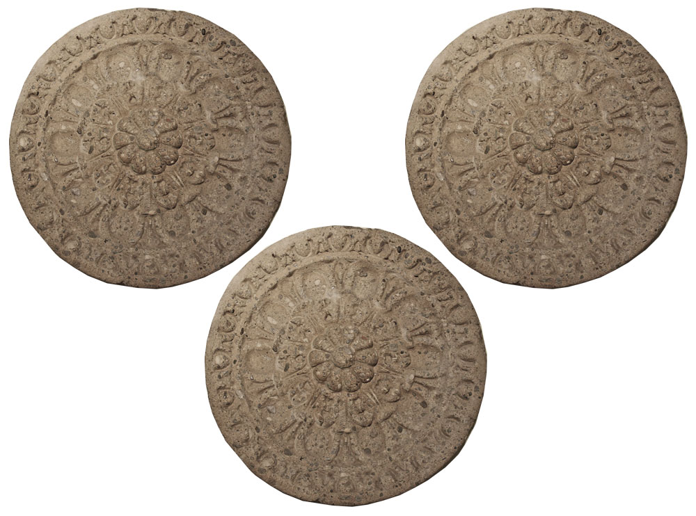 A Set of Three 19th Century Italian Stone Architectural Element Rosette Medallions No. 2564