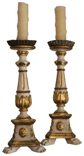 A Diminutive Pair of 18th Century Polychrome and Parcel-Gilt Pricket Sticks No. 3513