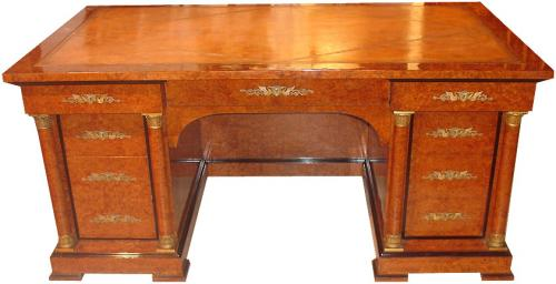 An Early 19th Century French Charles X Burl Wood and Parcel-Ebonized Kneehole Desk No. 3528