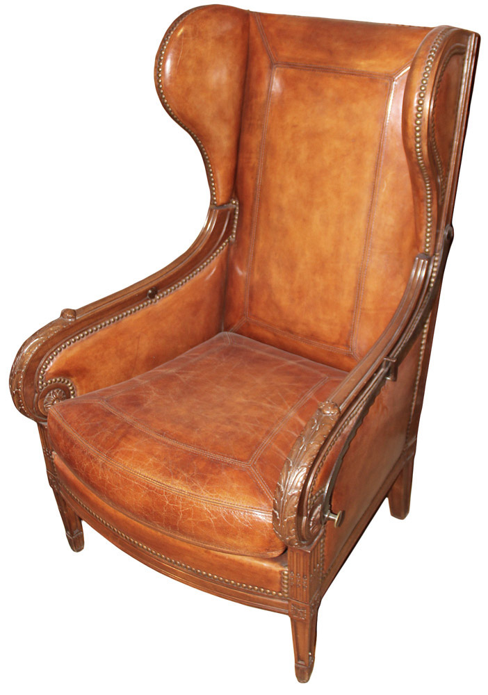 A Late 18th Century French Louis XVI Walnut Reclining Wing Chair No. 2590