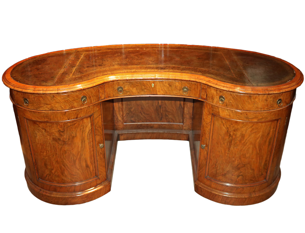 A 19th Century English Burl Walnut and Bird's-Eye Maple Kidney-Shaped Pedestal Desk No. 2594