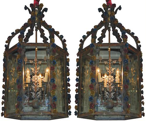 A Pair of 19th Century Spanish Wrought Iron Lanterns No. 1865