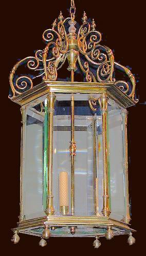 A 19th Century Three-Light Italian Hexagonal Brass Lantern Chandelier No. 1685
